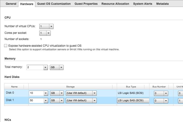 VM hardware properties in VMware cloud hosting