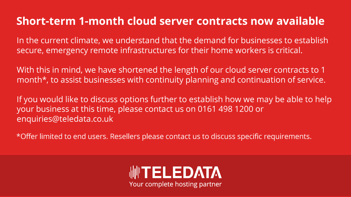 Covid-19 - reduced term cloud server contracts